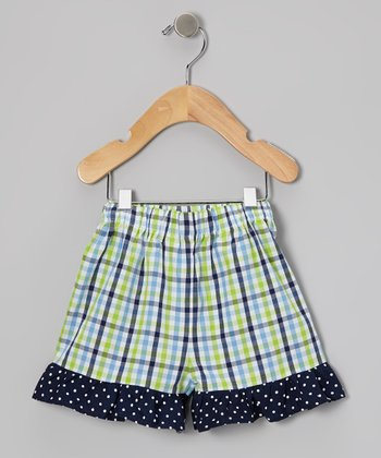 Blue & Green Plaid Ruffle Shorts - Infant, Toddler & Girls