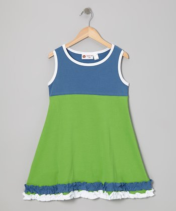 Blue & Green Ruffle Sleeveless Dress - Infant, Toddler & Girls