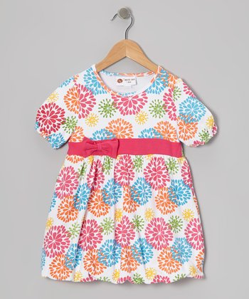 Hot Pink & Blue Big Blooms Bubble Dress - Infant, Toddler & Girls