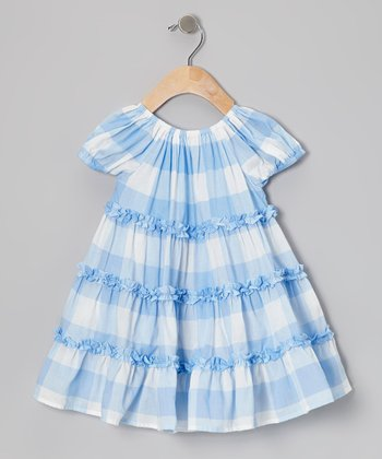 Blue & White Plaid Ruffle Swing Dress - Infant, Toddler & Girls
