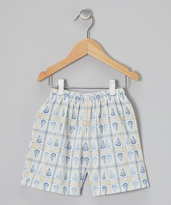 Yellow & Blue Sailboat Shorts - Toddler & Boys