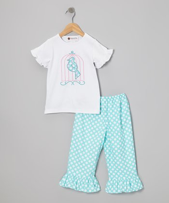 White Birdcage Top & Aqua Capri Pants - Infant, Toddler & Girls