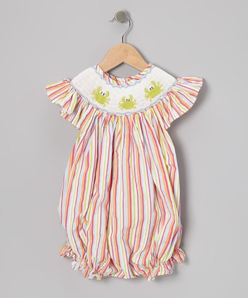 Orange Stripe Smocked Crab Bubble Bodysuit - Infant & Toddler
