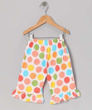 Pink & Orange Polka Dot Ruffle Capri Pants - Toddler & Girls