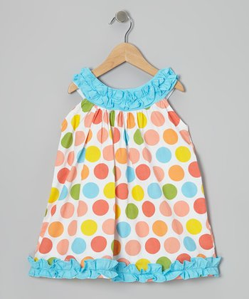 Teal & Pink Polka Dot Ruffle Yoke Dress - Infant, Toddler & Girl