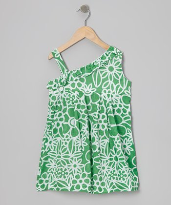 Green Floral Asymmetrical Dress - Girls
