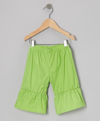 Green Polka Dot Ruffle Capri Pants - Infant, Toddler & Girls