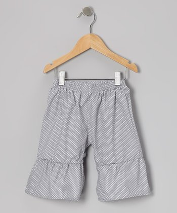 Gray Polka Dot Ruffle Capri Pants - Infant, Toddler & Girls