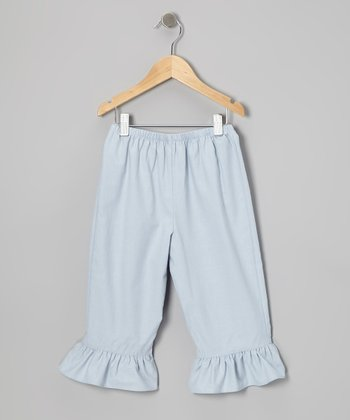 Light Blue Ruffle Pants - Toddler & Girls