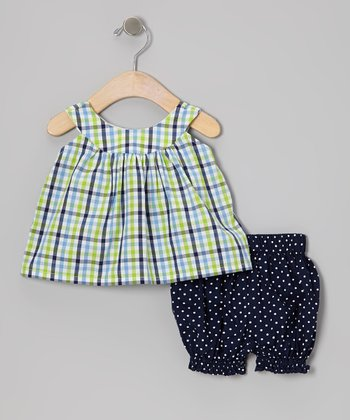 Blue & Green Plaid Yoke Top & Bloomers - Infant & Toddler