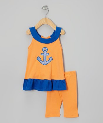 Orange & Blue Anchor Tunic & Leggings - Infant & Girls