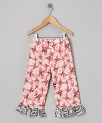 Pink Floral Ruffle Pants - Infant, Toddler & Girls