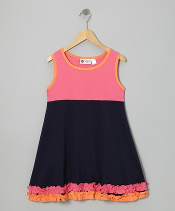 Pink & Navy Ruffle Sleeveless Dress - Infant, Toddler & Girls