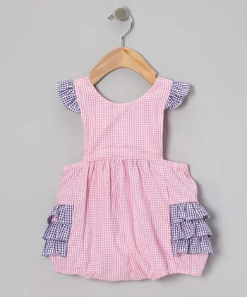 Pink & Purple Gingham Ruffle Bubble Bodysuit - Infant & Toddler