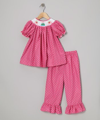 Hot Pink Dot Smocked Purse Top & Pants - Infant & Girls