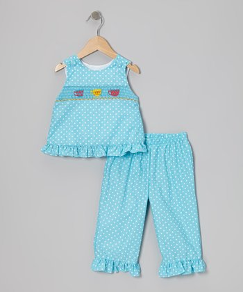 Blue Polka Dot Teacup Top & Pants - Infant, Toddler & Girls