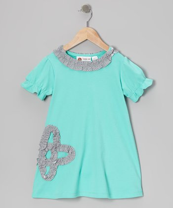 Teal & Gray Ruffle Flower Tunic - Infant, Toddler & Girls