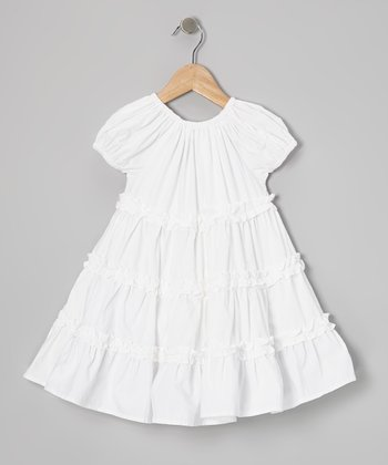 White Ruffle Sleeveless Swing Dress - Toddler & Girls