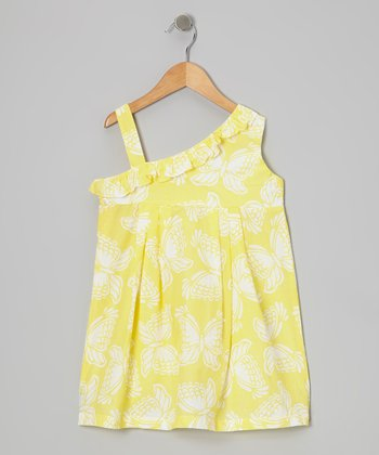 Yellow Butterfly Asymmetrical Dress - Girls