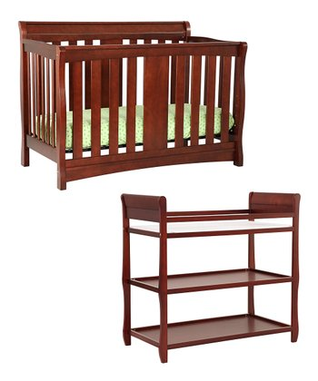 Cherry Harper Crib & Changing Table Set