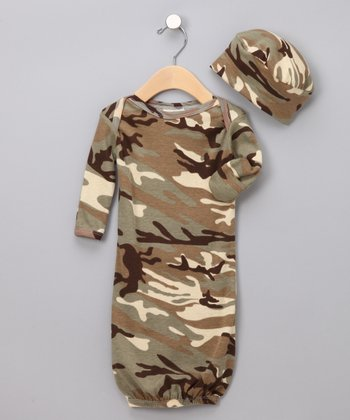 Khaki Camo Gown & Beanie - Infant