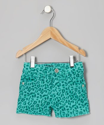 Green Leopard Shorts - Toddler & Girls