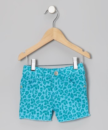 Blue Leopard Shorts - Toddler & Girls