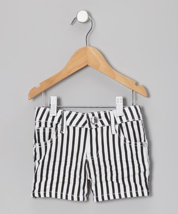 Black Stripe Shorts - Toddler & Girls