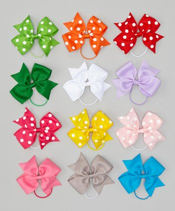 Red & Green Bow Hair Tie Set
