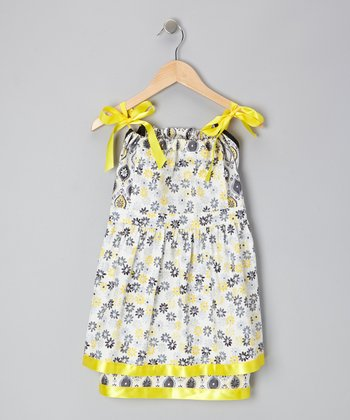 Yellow & Black Floral Pinafore Dress - Infant, Toddler & Girls