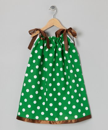 Green & Brown Polka Dot Swing Dress - Infant, Toddler & Girls