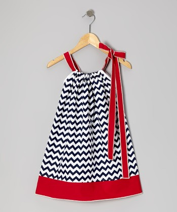 Navy Zigzag Swing Dress - Infant, Toddler & Girls