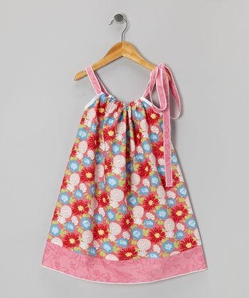 Red & Pink Floral Swing Dress - Infant, Toddler & Girls