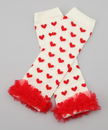 Red & White Heart Ruffle Leg Warmers