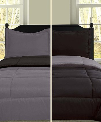 Black & Gray Microfiber Reversible Comforter Set
