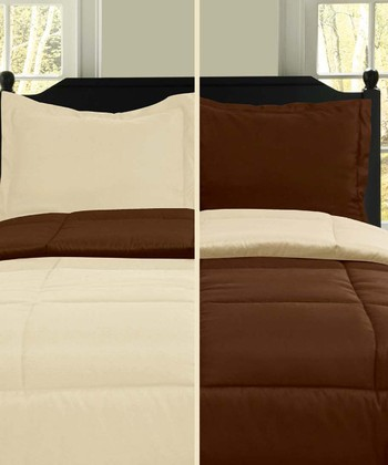 Chocolate & Ivory Microfiber Reversible Comforter Set