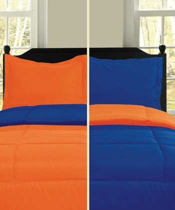 Cobalt & Orange Microfiber Reversible Comforter Set