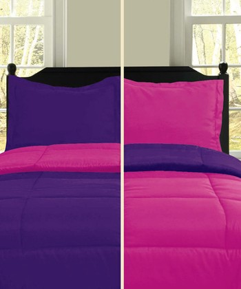 Pink & Purple Microfiber Reversible Comforter Set