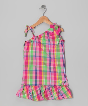Pink & Lime Plaid Asymmetrical Dress - Girls