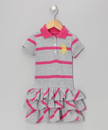 Pink & Gray Polo Ruffle Dress - Infant & Toddler