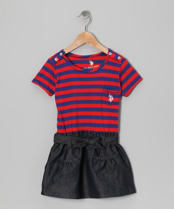 Tangerine & Navy Stripe Dress - Infant, Toddler & Girls