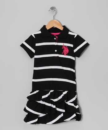 Black Stripe Polo Tier Dress - Toddler & Girls