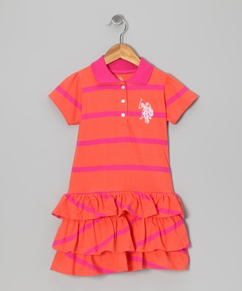 Orange Stripe Polo Tier Dress - Toddler & Girls