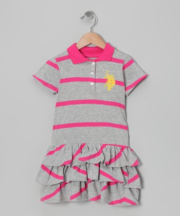 Pink Stripe Polo Tier Dress - Girls