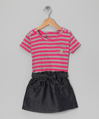 Pink & Gray Stripe Dress - Girls