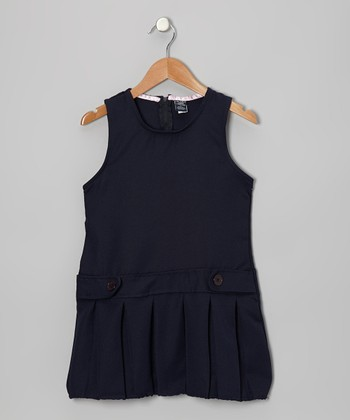 Navy Pleated Bubble Jumper - Girls