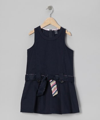 Navy Belted Jumper - Girls
