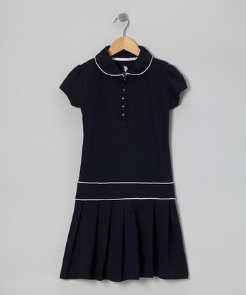 Navy & White Polo Dress - Girls
