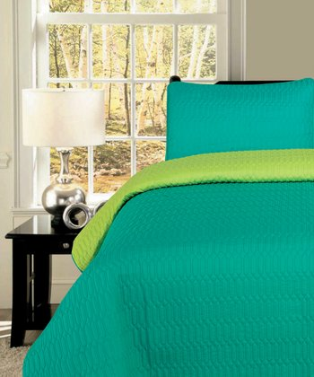 Turquoise & Lime Chain Stitch Reversible King Quilt Set