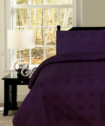 Dark Purple Circles Quilt Set